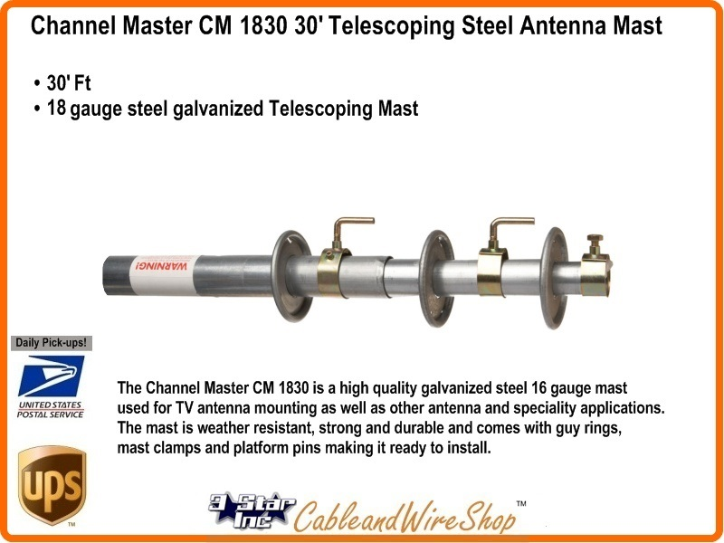Channel Master Cm 1830 Telescopic Push Up 30 Foot 18 Awg