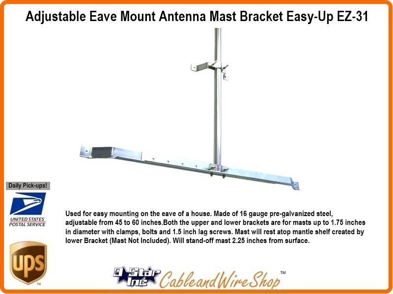 Eave Mount Antenna Mast Bracket Adjustable