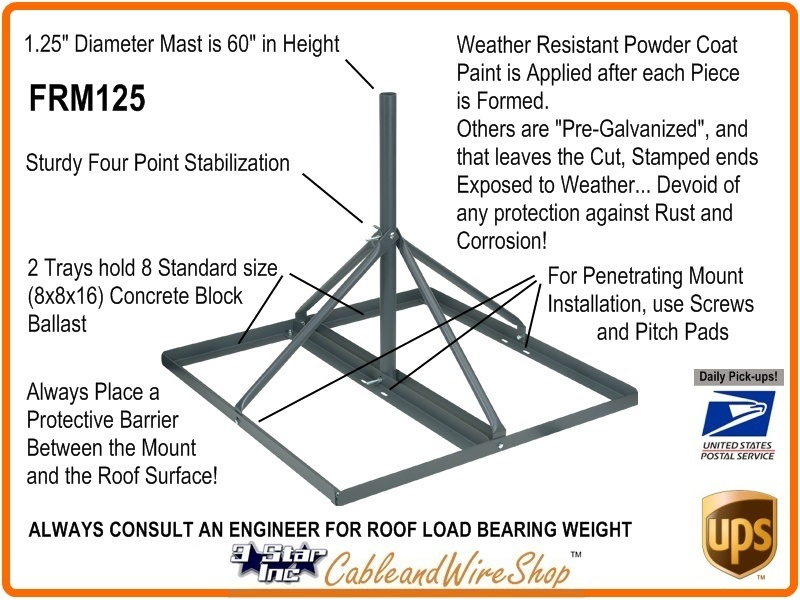 Vmp Frm125 Non Penetrating Roof Mount 60 Quot Mast With 1 25 Quot O D
