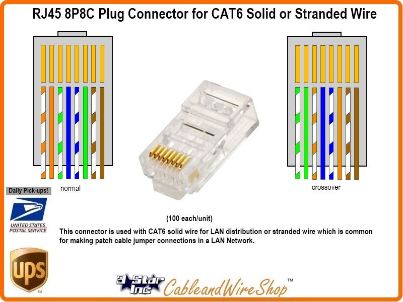Rj p c plug connector for stranded or solid cat wire