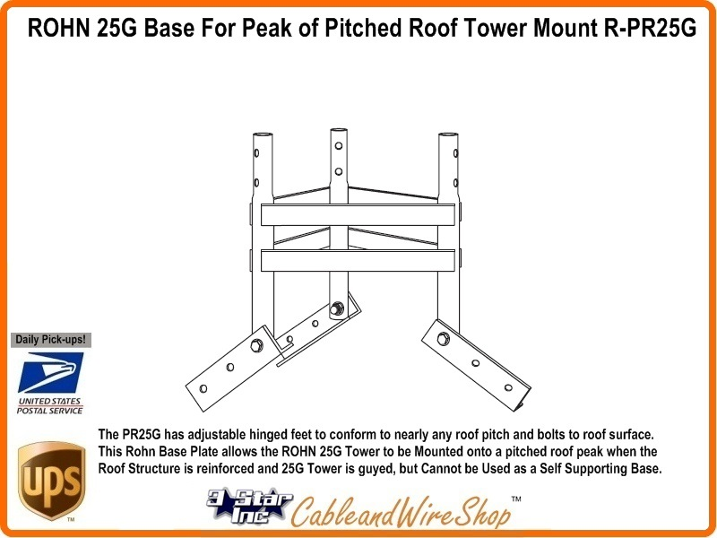 Rohn 25g Base For Peak Of Pitched Roof Tower Mount R Pr25g