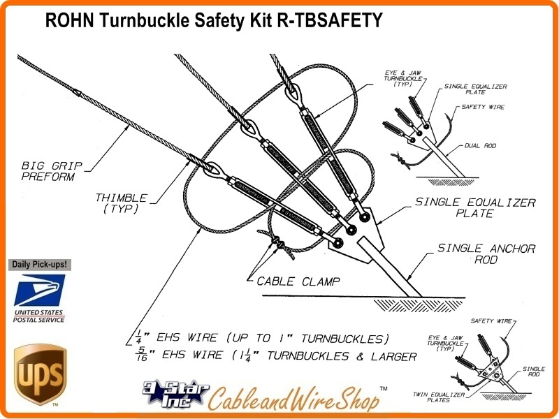 Rohn Tower Tbsafety Tower Down Guy Turnbuckle Safety Kit