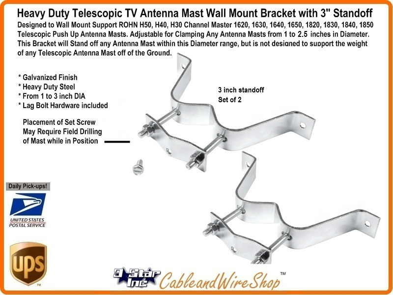 3 Quot Wall Mount Bracket For Telescopic Tv Antenna Mast Heavy