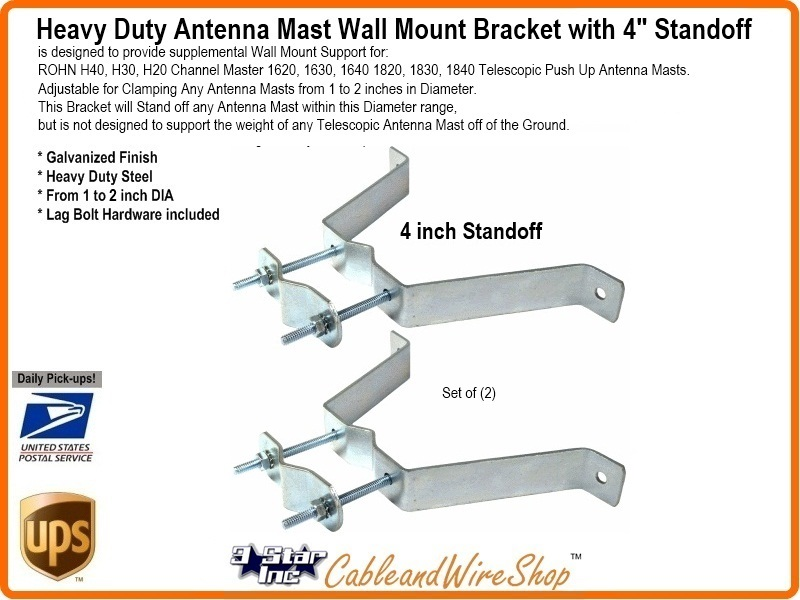 4 Quot Wall Mount Bracket For Telescopic Tv Antenna Mast Heavy
