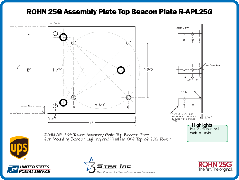 ROHN BPL25G Top Cap Tower Section to Mount TB3 Thrust Bearing for ROHN 25G