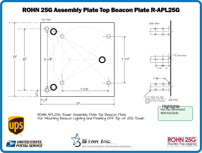 ROHN BPL25G Top Cap Tower Section to Mount TB3 Thrust Bearing for ROHN 25G