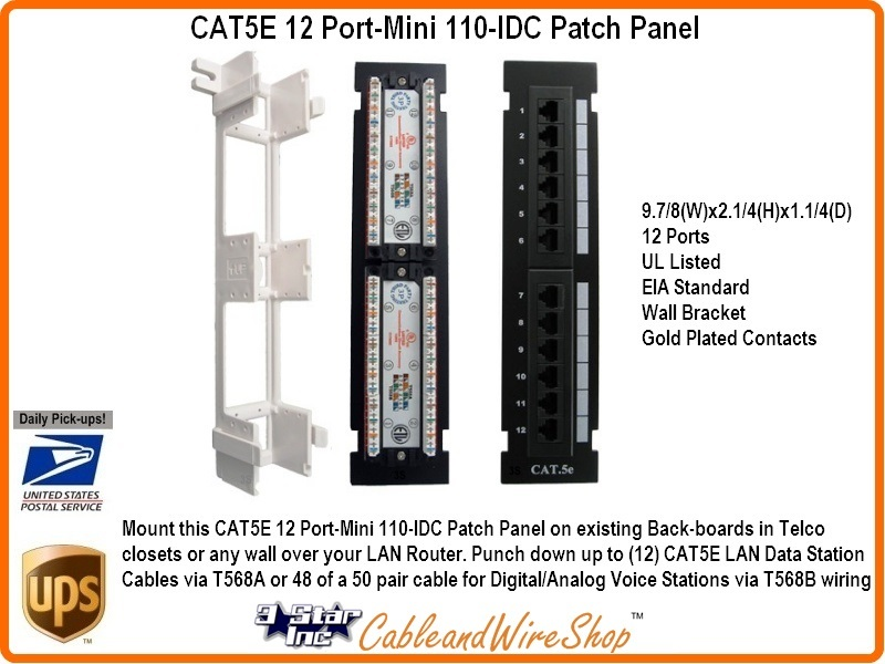 Cat5e 12 Port Mini 110 Idc Patch Panel 3 Star Incorporated