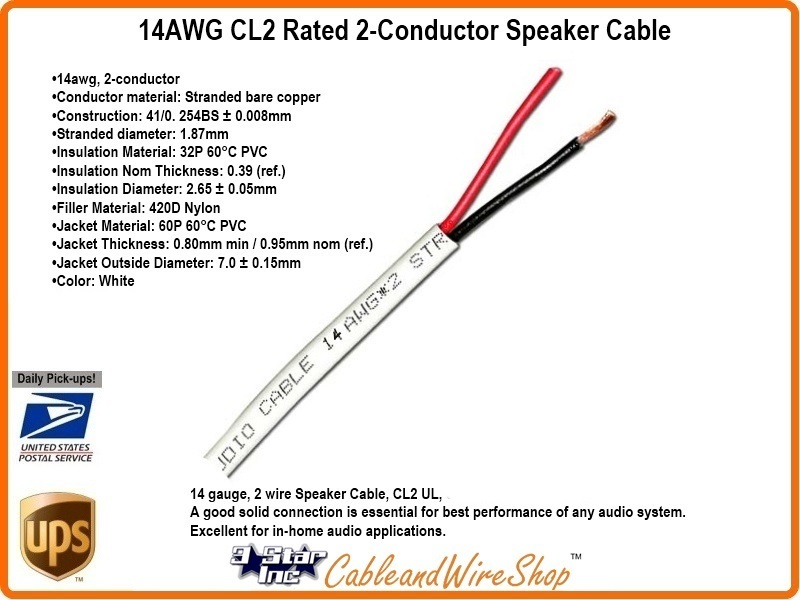 14 AWG CL2 Rated 2 Conductor Speaker Cable 14/2 41 Strand 500 ...