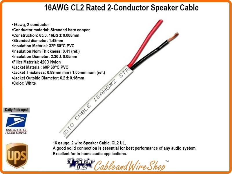 16 AWG CL2 Rated 2 Conductor Speaker Cable 16/2 26 Strand 500\' | 3 ...
