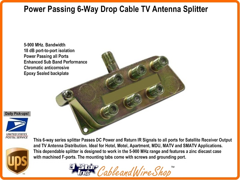 Passing 6-Way Drop Cable TV Antenna Splitter