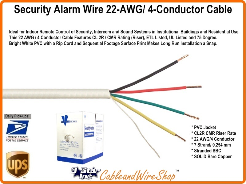 Security Alarm Wire 22-AWG Stranded 4-Conductor Cable - 1000\' ft Box ...