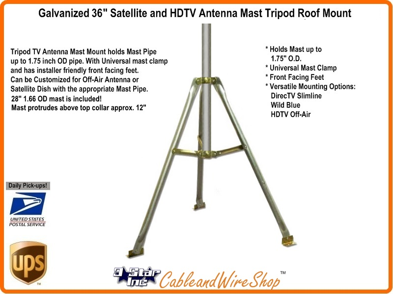 3 Foot Roof Mount Tripod With Antenna Mast 3 Star