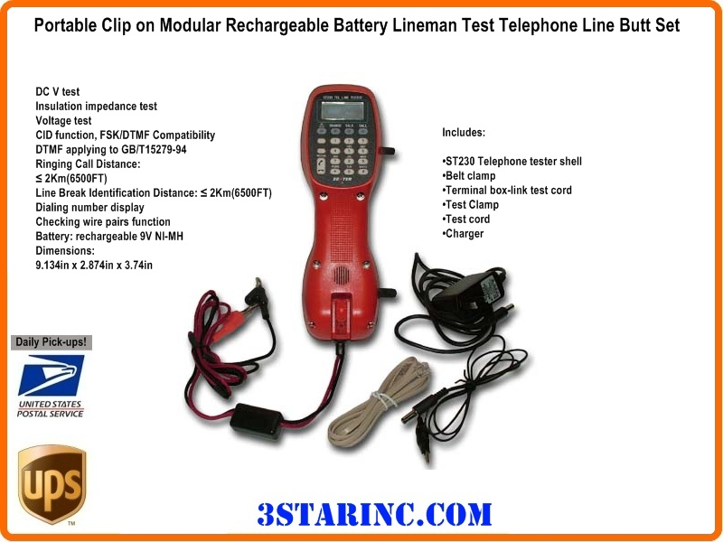 Portable Clip on Modular Rechargeable Battery Lineman Test ...