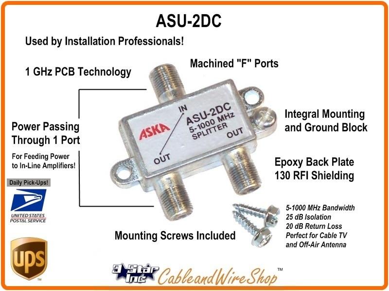 Aska 2 Way Horz Splitter 5 1000 Mhz Power Pass W Grd