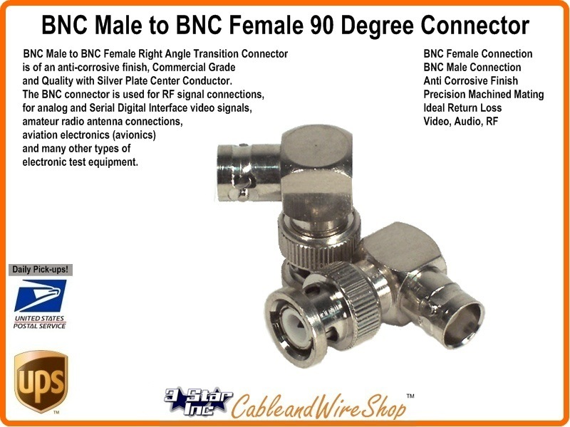 Bnc Male To Bnc Female 90 Degree Connector 3 Star