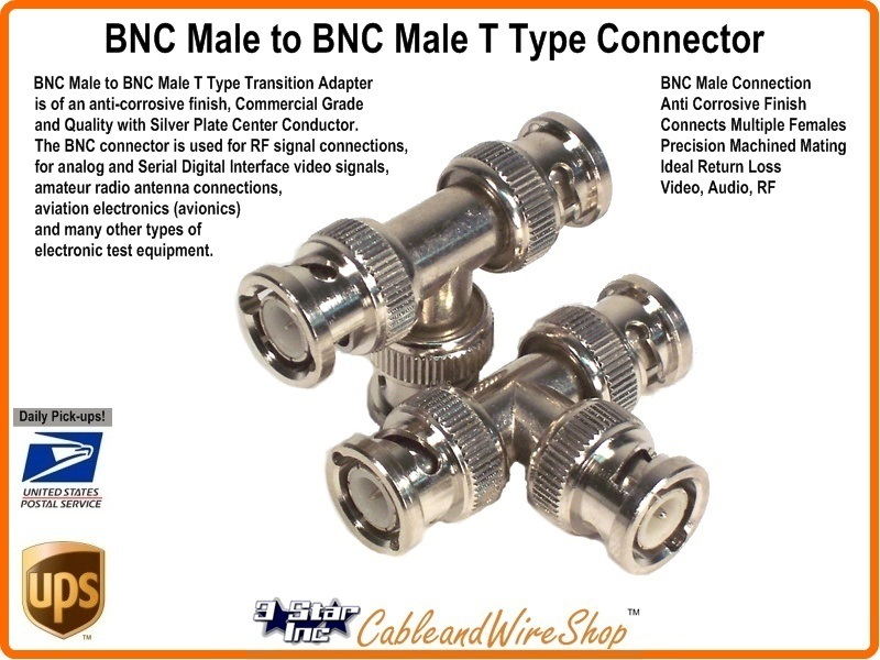 Bnc Male To Bnc Male T Type Adapter Connector 3 Star