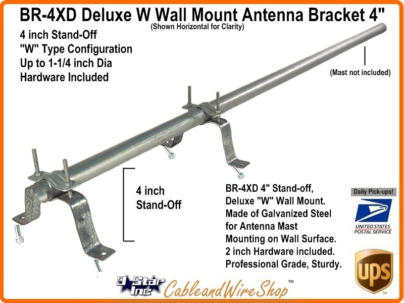 4 Inch Tv Antenna Mast Wall Mount W Bracket Br 4xd 3