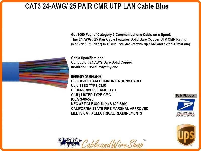 Cat3 24 Awg 25 Pair Cmr Utp Lan Cable Blue 3 Star