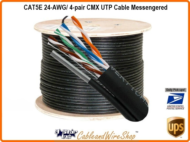 CAT5E 24-AWG/ 4-pair CMX UTP Cable Messengered | 3 Star Incorporated