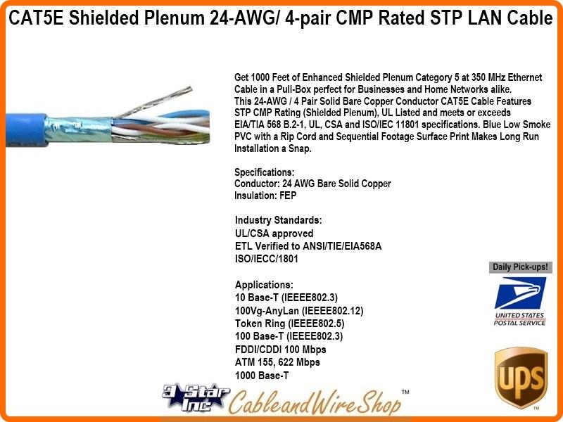 cat5e 350 mhz cmp stp pvc shielded plenum blue sbc 24 awg. Black Bedroom Furniture Sets. Home Design Ideas