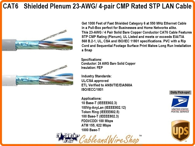 Cat6 Shielded Plenum 23awg 4 Pair Cmp Rated Stp Networking
