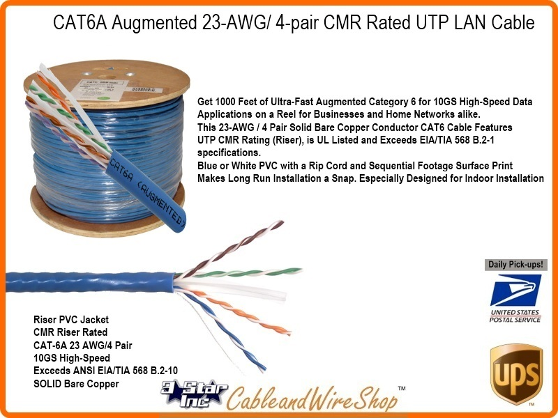 Cat6a Augmented 23awg 4 Pair Cmr Rated Utp Networking