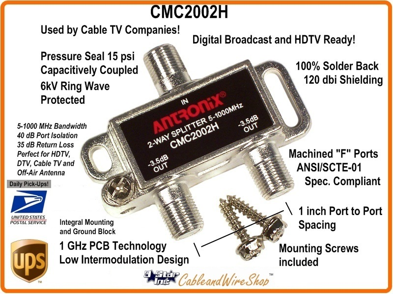 Antronix CMC2002H 2-Way Horizontal Splitter 5-1000 MHz