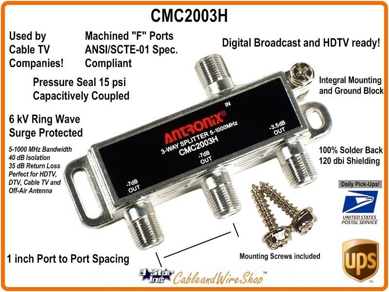 CMC2003H 3-Way 1 GHz Cable TV Antenna Splitter