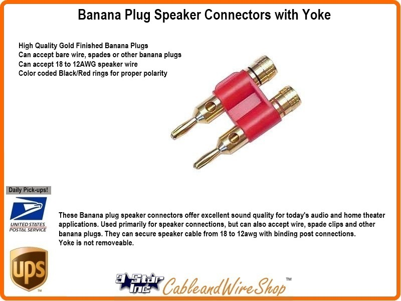 Banana Plug Speaker Connectors with Yoke | 3 Star Inc Logo