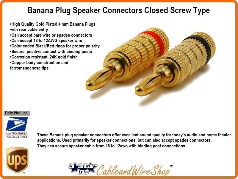 banana plug speaker connectors closed screw type 3 star incorporated. Black Bedroom Furniture Sets. Home Design Ideas
