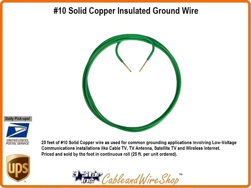 10 Solid Copper Insulated Ground Wire | 3 Star Incorporated