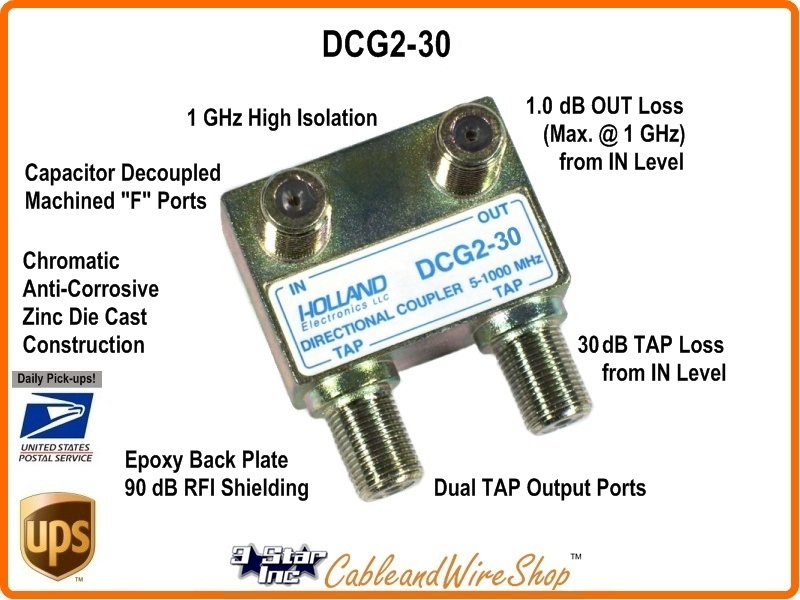 30 db 2 port cable tv antenna directional drop tap
