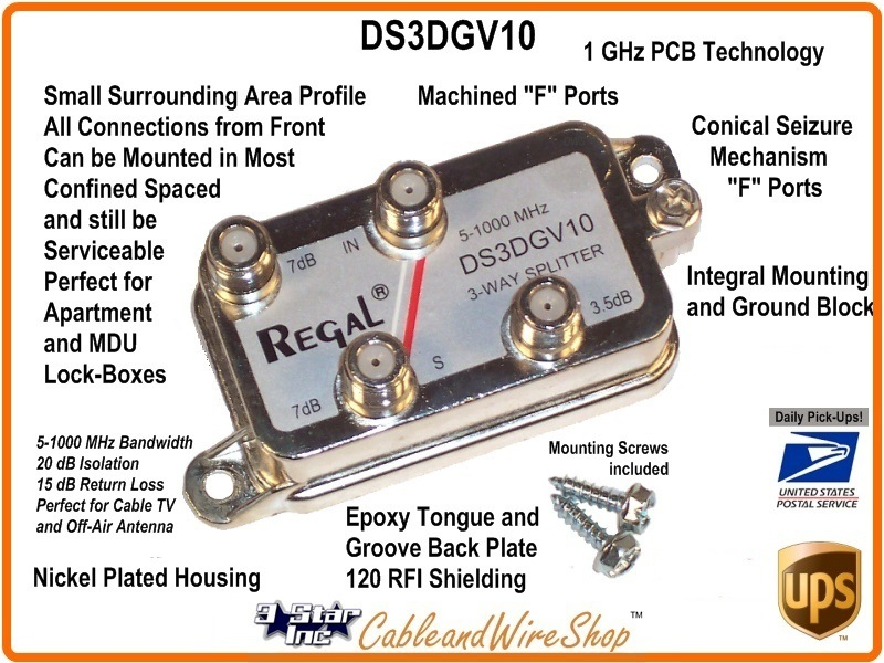 DS3DGV10 3-Way 1 GHz Coaxial Cable TV Antenna Signal Splitter