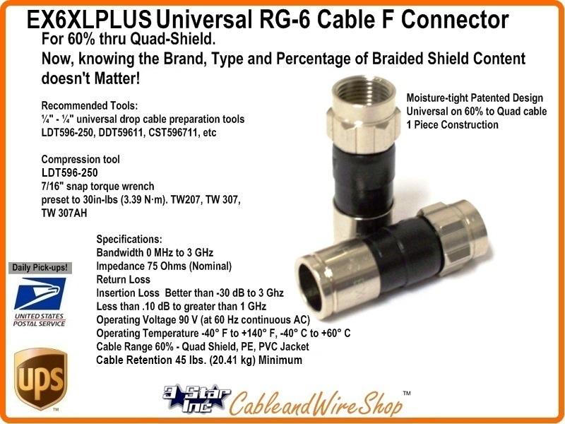 Ppc Ex6xl Plus Signal Tight Universal Rg6 Cable F