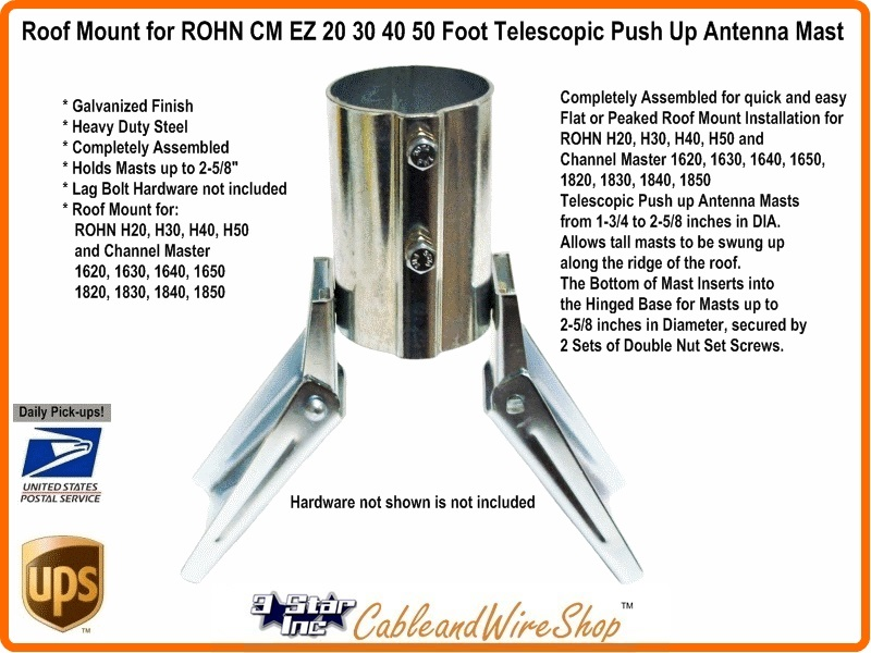 Ez19b Roof Base Mount For Telescopic Antenna Mast 3 Star Incorporated