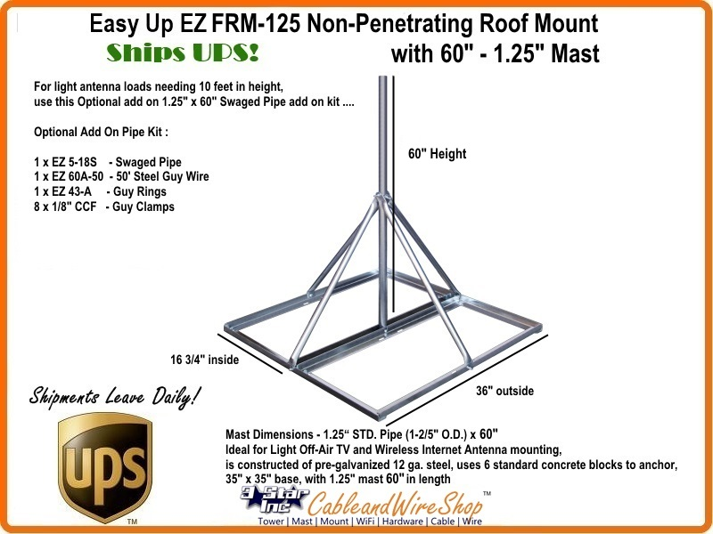 Ez Frm 125 Non Penetrating Roof Mount With 60 X 1 25 Mast 3 Star Incorporated