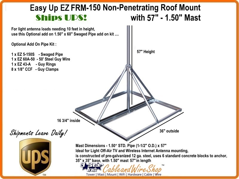 Ez Frm 150 Non Penetrating Roof Mount With 58 Quot X 1 50