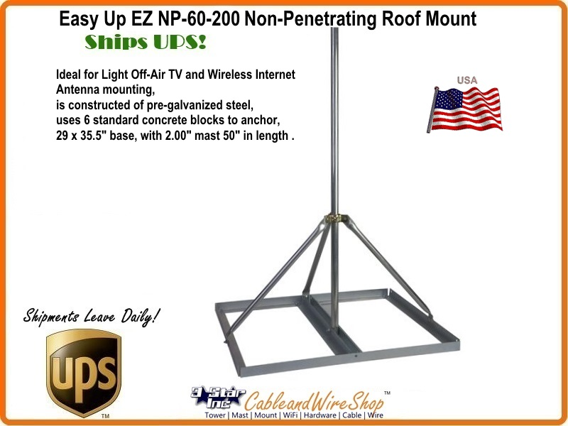 Non Penetrating Roof Mount Low Profile For Light Antennas