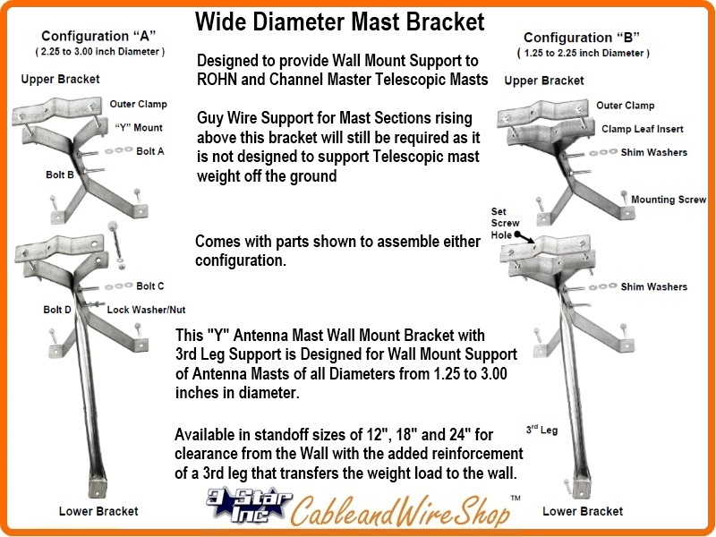 18 inch telescopic tv antenna mast wall mount bracket 3 star inc logo view larger image greentooth Choice Image