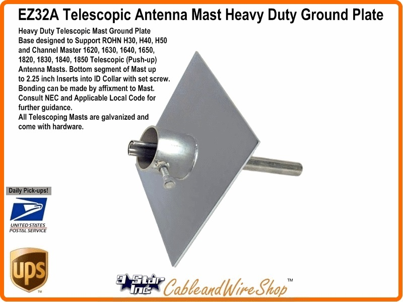 Ez32a Telescopic Antenna Mast Heavy Duty Base Plate 3 Star Incorporated