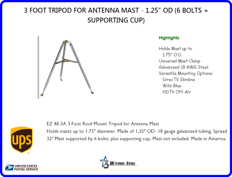 3 Foot Tripod For Antenna Mast 1 25 Quot Od 6 Bolts