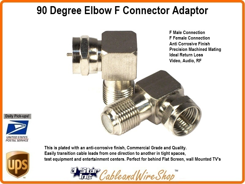 90 Degree Angle Elbow F Connector Adaptor 3 Star