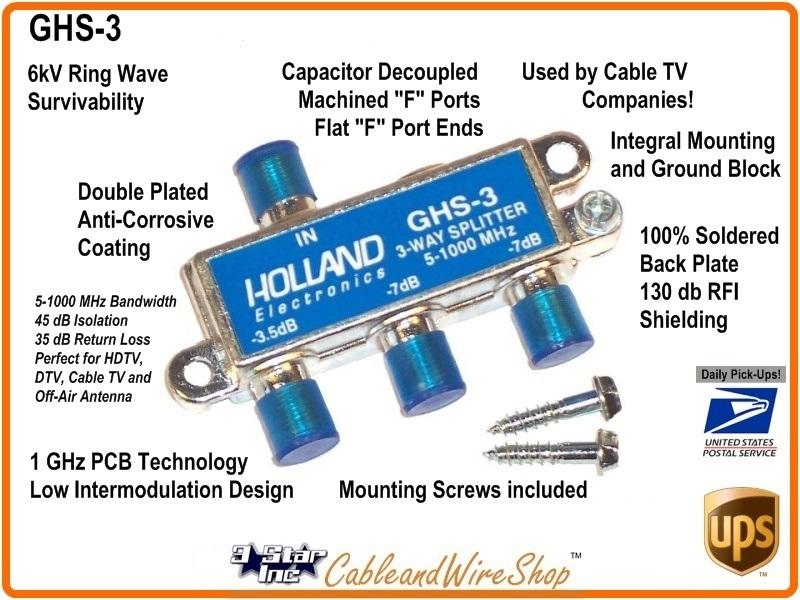 HOLLAND 3-Way Horizontal Splitter 5-1000 MHz. -W- Ground   3 Star ...