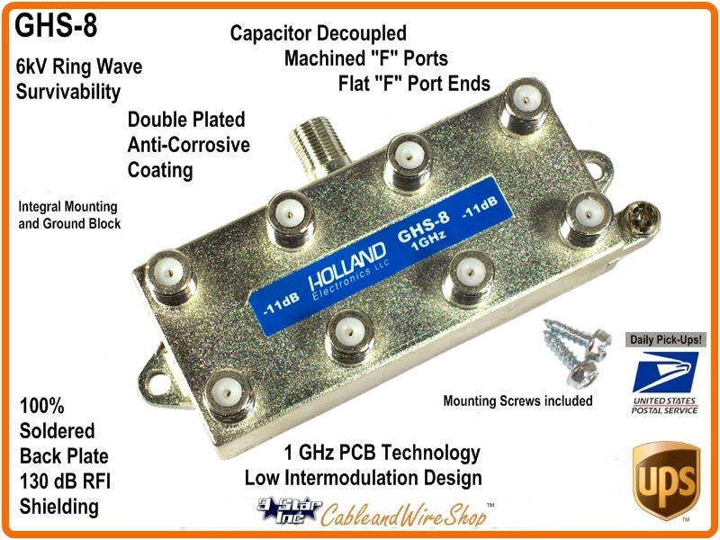 HOLLAND 8-Way Coaxial Cable Drop Splitter 1 GHz | 3 Star Inc Logo