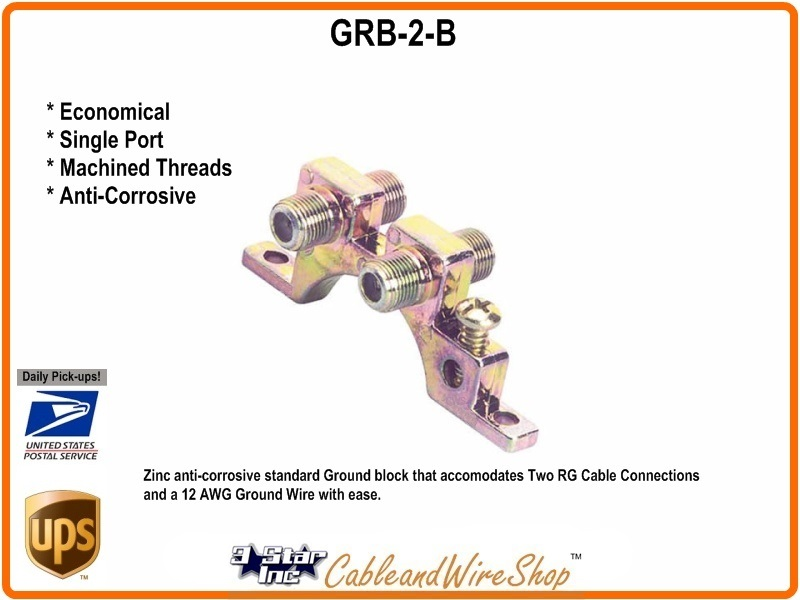 Dual Port Coaxial Cable Ground Block GRB-2-B | 3 Star Incorporated