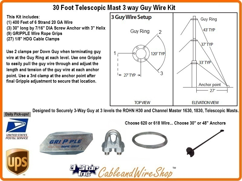 30 Foot Telescopic Antenna Mast 3 Way Down Guy Wire Kit