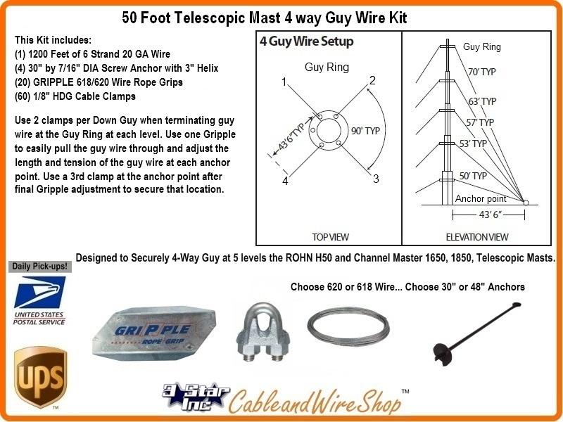 50 Foot Telescopic Antenna Mast 4 Way Down Guy Wire Kit