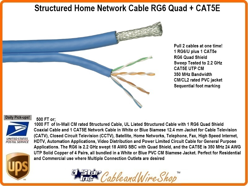 Fine Structured Home Network Cable Rg6 Quad Cat5E 1000 Feet 3 Star Wiring Cloud Hisonuggs Outletorg