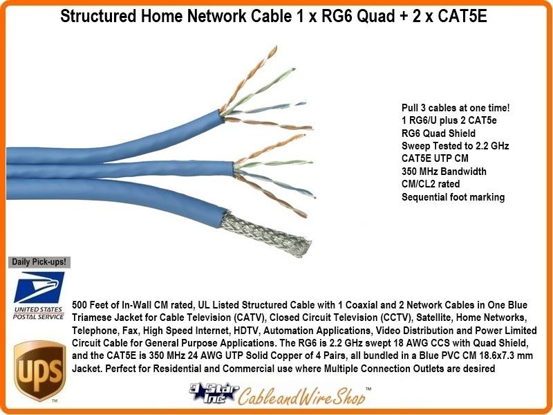 structured home network cable 1 x rg6 quad 2 x cat5e 3 star rh 3starinc com