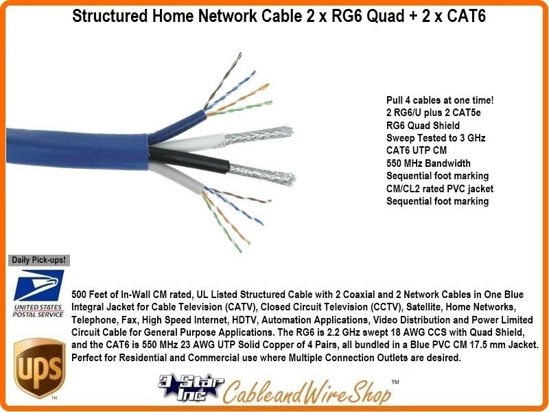 structured home network cable 2 x rg6 quad 2 x cat6 3 star rh 3starinc com